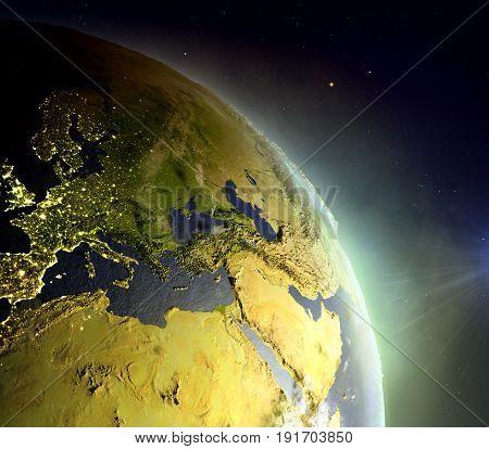 Emea Region From Space In Sunrise