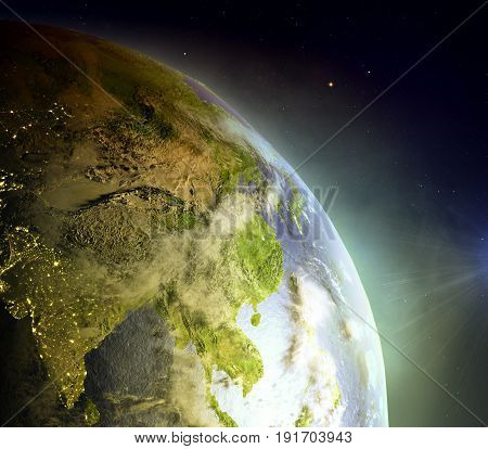 Southeast Asia From Space In Sunrise