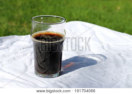 Brown Ale in a Beer Glass on a Picnic Blanket