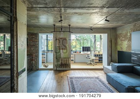 Room in a loft style with shabby and brick walls and a parquet with a carpet on the floor. There are sofas, table with computer and chair, shelves, horizontal bar, lamps, pictures, dog on the floor.