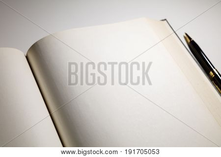 Blank pages in an open book with a pen