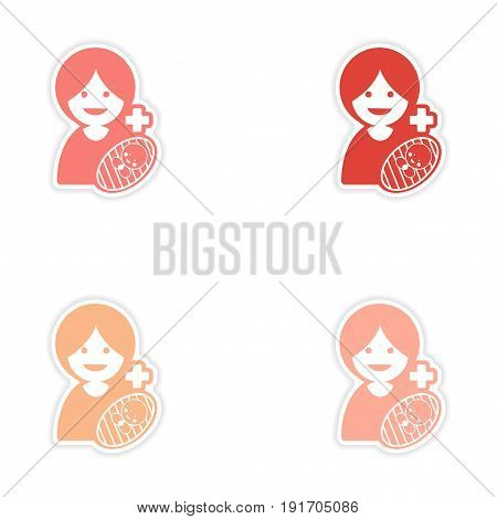 Set of stickers mother and daughter on white background
