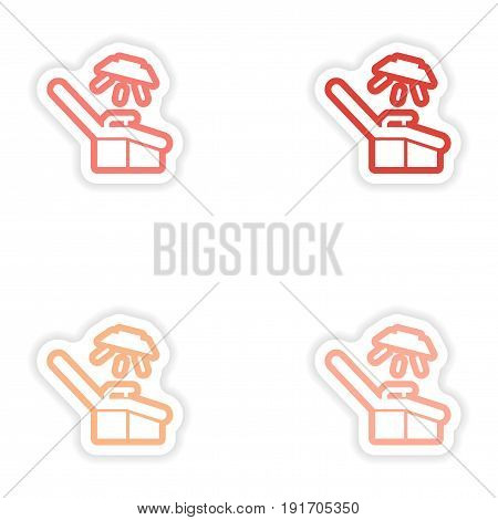 Set paper stickers on white background gynecological