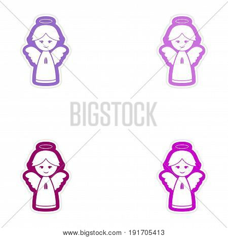 Set of paper stickers on white background Christmas angel