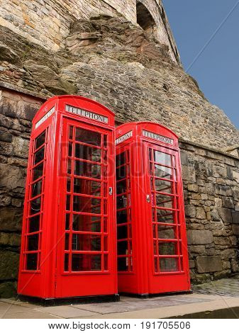 Retro Red Telephone Boxes in Edinburgh Scotland