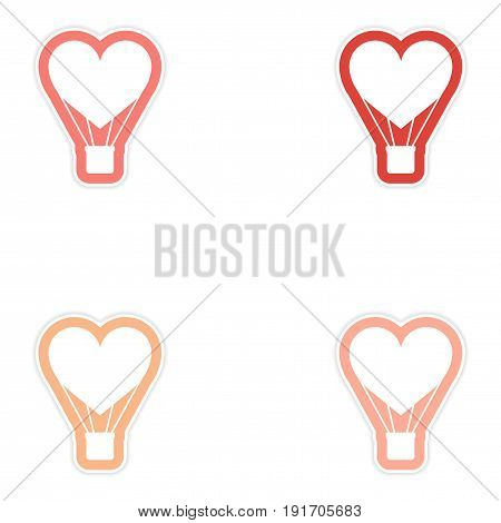 Set of paper stickers on white background heart air balloon
