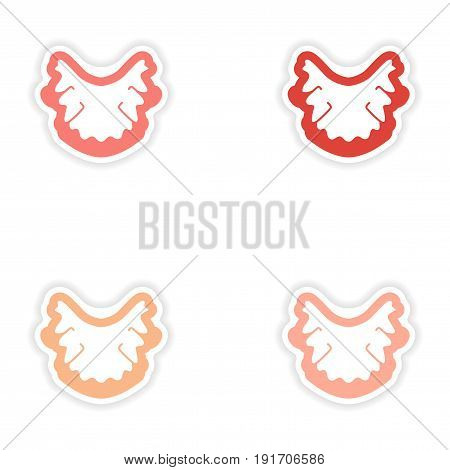 Set of paper stickers on white background nerves in gums