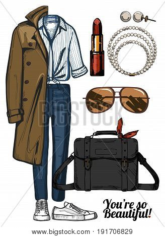 Vector illustration of women fashion clothes look set. Trench coat denim jeans red lipstick satchel bag sneakers pearls necklace and earrings.