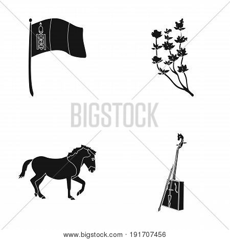 National flag, horse, musical instrument, steppe plant. Mongolia set collection icons in black style vector symbol stock illustration .