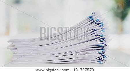 Pile Of Papers Organized With Paper Clips