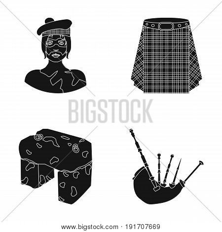 Highlander, Scottish Viking, tartan, kilt, scottish skirt, scone stone, national musical instrument of bagpipes. Scotland set collection icons in black style vector symbol stock illustration .