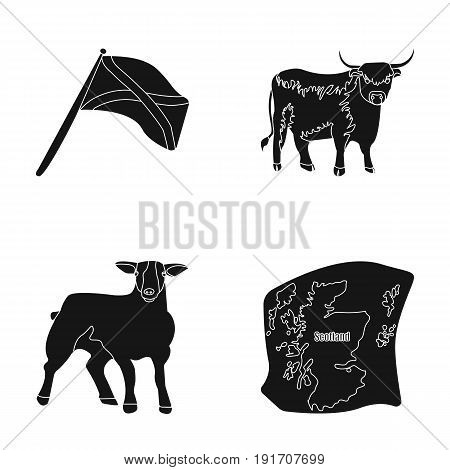 The state flag of Andreev, Scotland, the bull, the sheep, the map of Scotland. Scotland set collection icons in black style vector symbol stock illustration .
