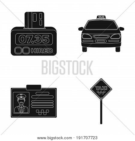 The counter of the fare in the taxi, the taxi car, the driver's badge, the parking lot of the car. Taxi set collection icons in black style vector symbol stock illustration .