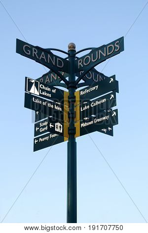 Directional Sign At Lake Of The Isles In Minneapolis