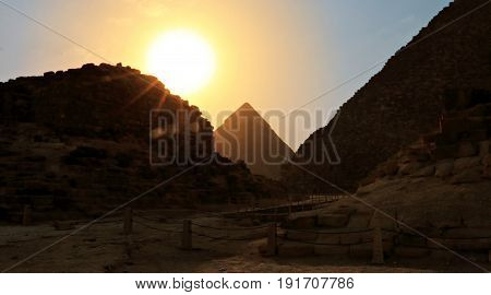 Great Pyramid of Giza at Sunset in Silhouette
