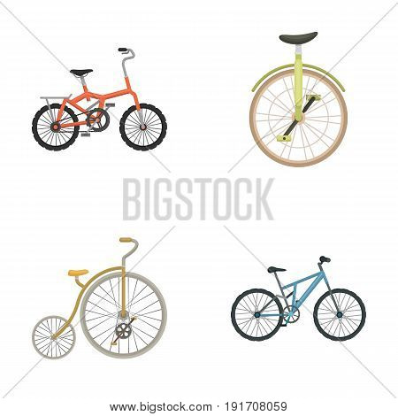 Retro, unicycle and other kinds. Different bicycles set collection icons in cartoon style vector symbol stock illustration .