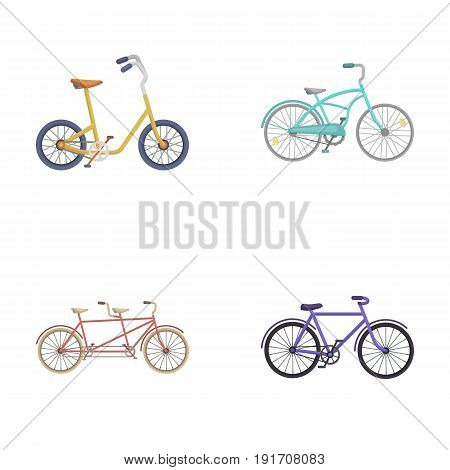 Children's bicycle, a double tandem and other types.Different bicycles set collection icons in cartoon style vector symbol stock illustration .