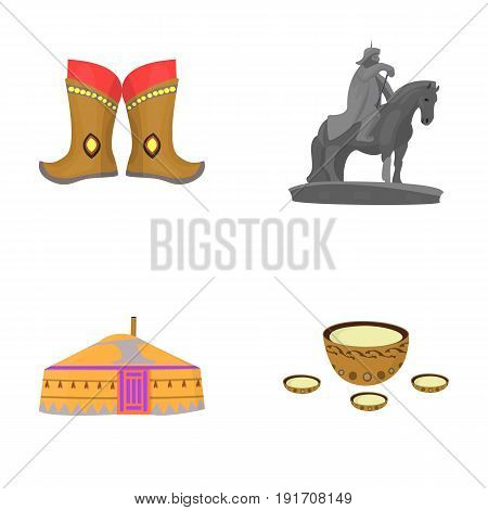Military boots, a monument to the rider, a national tent, a milk drink. Mongolia set collection icons in cartoon style vector symbol stock illustration .