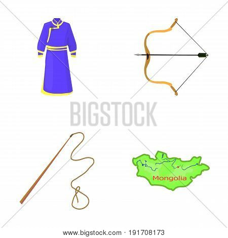 Mongol dressing gown, battle bow, theria on the map, Urga, Khlyst. Mongolia set collection icons in cartoon style vector symbol stock illustration .