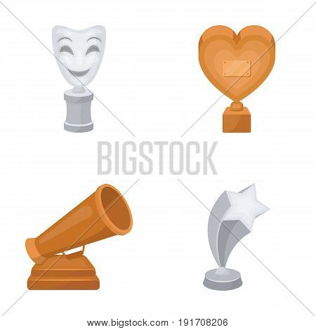 White Mask Mime for the best drama, a prize in the form of the heart and other prizes. Movie awards set collection icons in cartoon style vector symbol stock illustration .