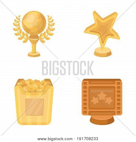 A gold prize in the form of a star, a gold globe and other prizes. Movie awards set collection icons in cartoon style vector symbol stock illustration .