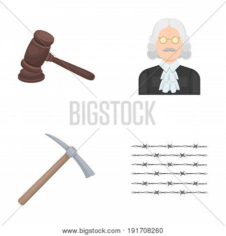 Judge, wooden hammer, barbed wire, pickaxe. Prison set collection icons in cartoon style vector symbol stock illustration .