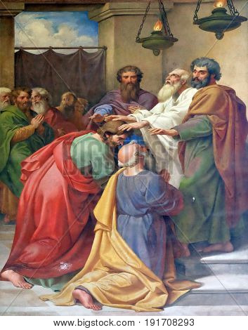 ROME, ITALY - SEPTEMBER 05: The fresco with the image of the life of St. Paul: Saul and Barnabas laying on of hands, basilica of Saint Paul Outside the Walls, Rome, Italy on September 05, 2016.
