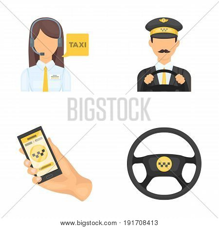 A taxi driver with a microphone, a taxi driver at the wheel, a cell phone with a number, a car steering wheel. Taxi set collection icons in cartoon style vector symbol stock illustration .