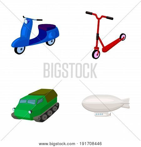 Motorcycle, scooter, armored personnel carrier, aerostat types of transport. Transport set collection icons in cartoon style vector symbol stock illustration .