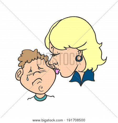 Mom kissing her child. Flat vector illustration. happy mothers day