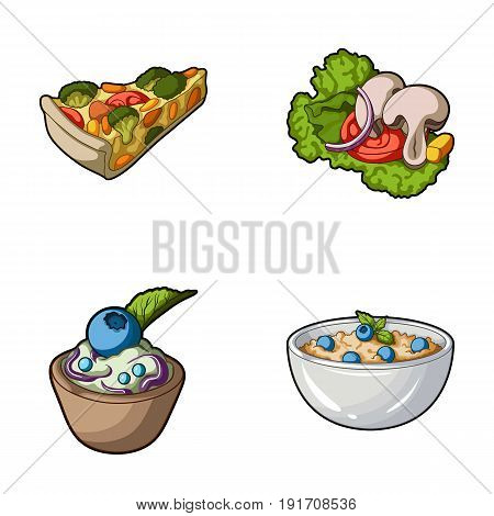 Piece of vegetarian pizza with tomatoes, lettuce leaves with mushrooms, blueberry cake, vegetarian soup with greens. Vegetarian dishes set collection icons in cartoon style vector symbol stock illustration .