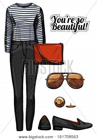 Vector illustration of women fashion clothes look set. Stripped black and white top blouse black skinny jeans red crossbody bag aviator sunglasses loafers. Ink hand drawn style colored.