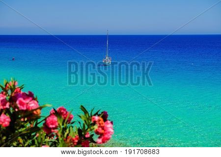 View on a white boat in the Atlantic ocean in Morro Jable on the Canary Island Fuerteventura Spain.