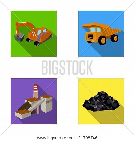 Excavator, dumper, processing plant, minerals and ore.Mining industry set collection icons in flat style vector symbol stock illustration .