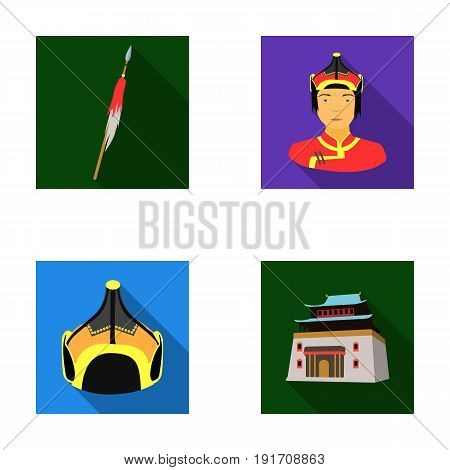 Military spear, Mongolian warrior, helmet, building.Mongolia set collection icons in flat style vector symbol stock illustration .