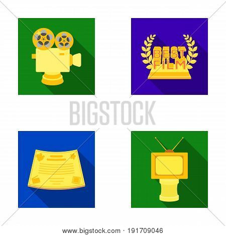Silver camera. A bronze prize in the form of a TV and other types of prizes.Movie awards set collection icons in flat style vector symbol stock illustration .