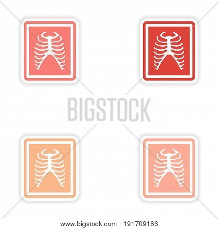 Set paper stickers on white background X-rays of ribs