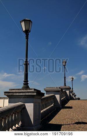 Streetlamps and Blue Skies in Antwerp, Belgium