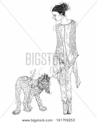 Portrait of woman with shawl walking with the dog