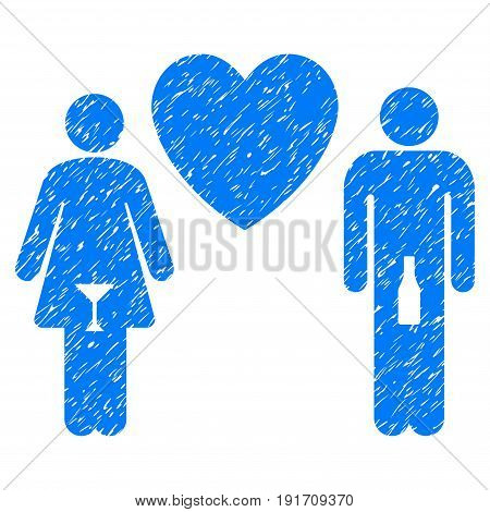 Grunge Drunky Love Pair icon with grunge design and dust texture. Unclean vector blue pictogram for rubber seal stamp imitations and watermarks. Draft sign drunky love pair symbol.