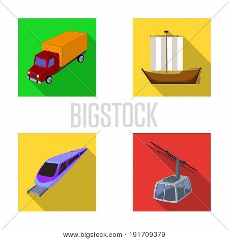 The truck, the boat, the subway, the funicular modes of transport. Transport set collection icons in flat style vector symbol stock illustration .