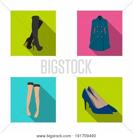 Women's high boots, coats on buttons, stockings with a rubber band with a pattern, high-heeled shoes. Women's clothing set collection icons in flat style vector symbol stock illustration .