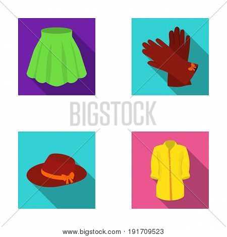 Skirt with folds, leather gloves, women's hat with a bow, shirt on the fastener. Women's clothing set collection icons in flat style vector symbol stock illustration .