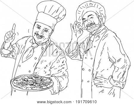 Two chefs with hat and dress and a pizza in hand