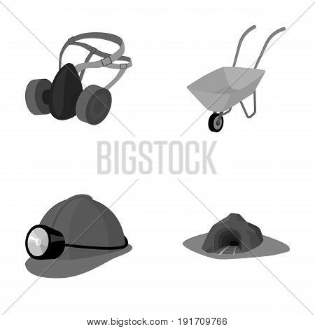 Headphones and raspirator, wheelbarrow, helmet with a lantern, the entrance to the mine. Mining industry set collection icons in monochrome style vector symbol stock illustration .