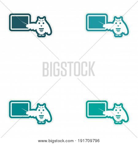 Set of paper stickers on white background owl teacher