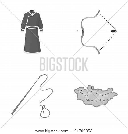 Mongol dressing gown, battle bow, theria on the map, Urga, Khlyst. Mongolia set collection icons in monochrome style vector symbol stock illustration .