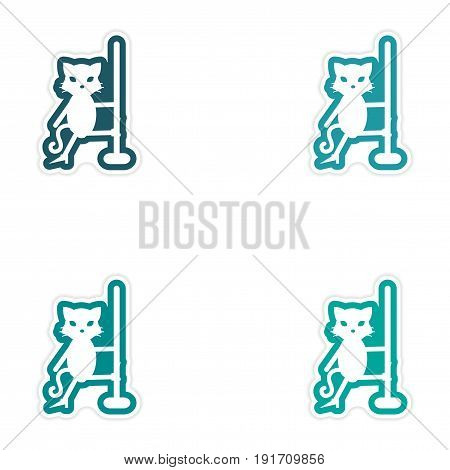 Set of paper stickers on white background cat striptease