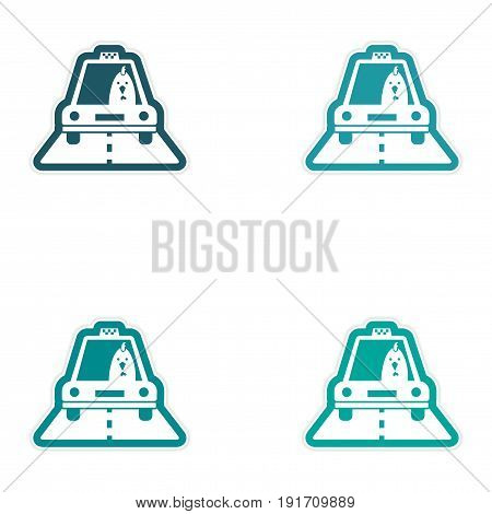 Set of paper stickers on white background Cock taxi driver