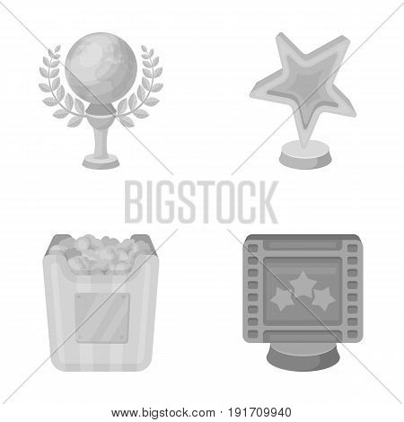 A gold prize in the form of a star, a gold globe and other prizes. Movie awards set collection icons in monochrome style vector symbol stock illustration .